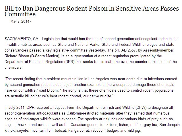 bill to ban dangerous rodent poison in sensitive areas passes committee